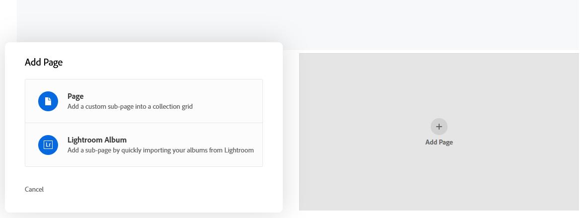 Step 1, add page in Adobe Portfolio