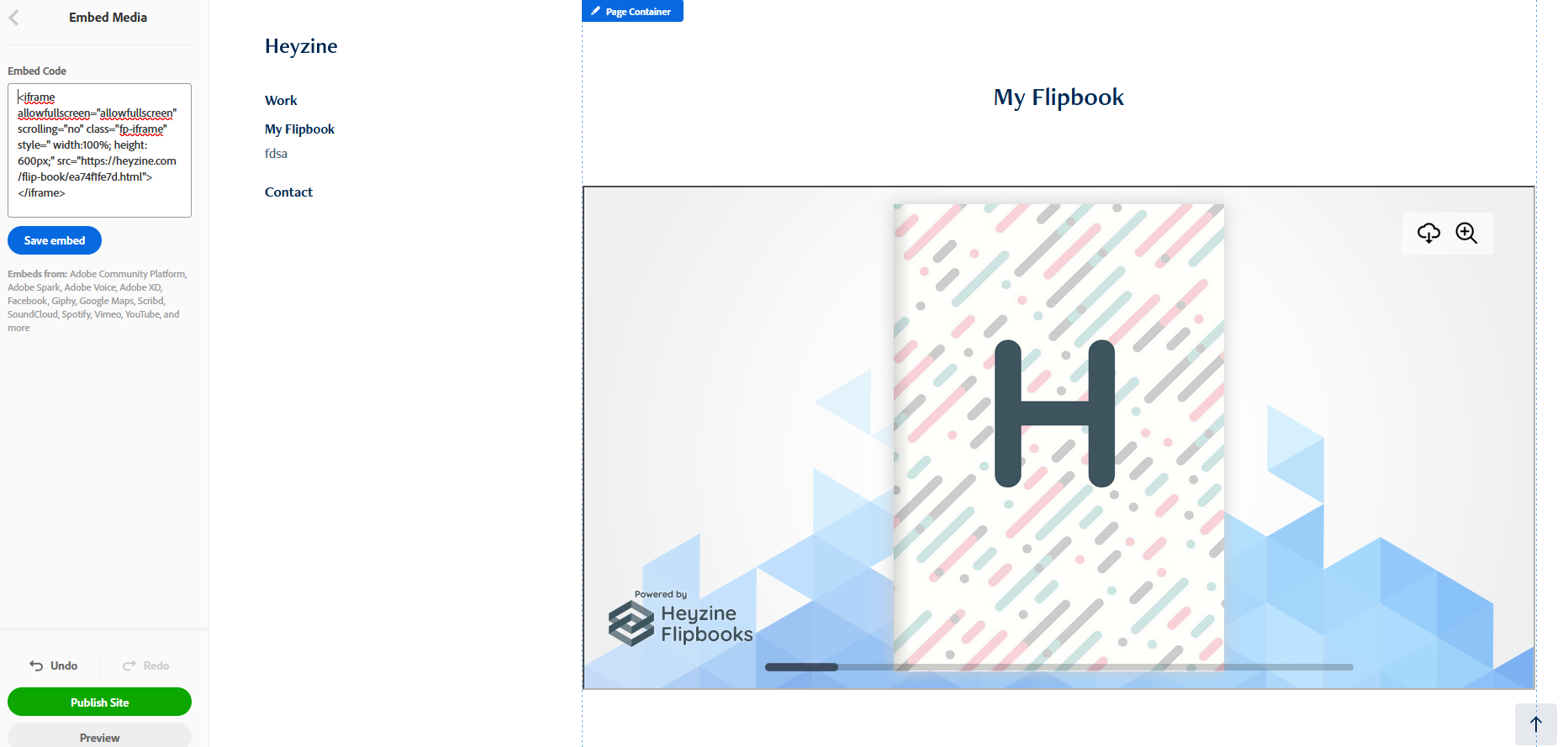 Adobe Portfolio Flipbook